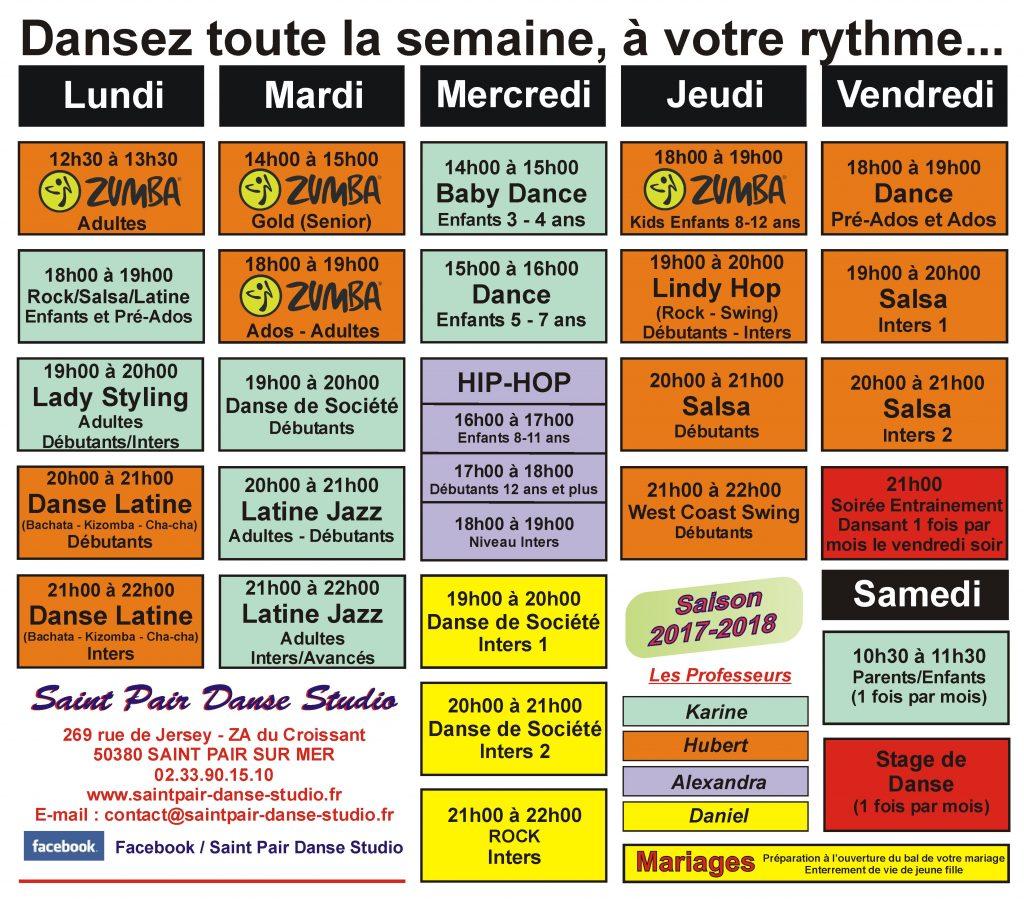 planning cours danse saint pair danse studio