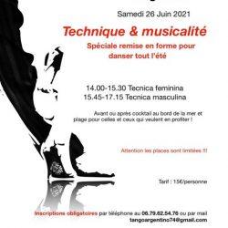 Affiche stage de tango argentin le 26 juin 2021 animé par Johanna et Maximiliano