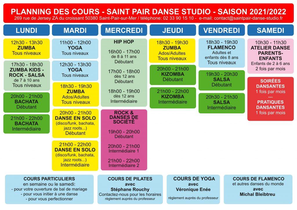 Planning des cours de danse saison 2021-2022 école de danse saint pair danse studio à saint-pair-sur-mer